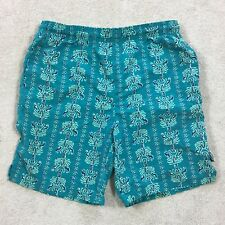 "6ff5ef9562 Vtg 80s 90s BUGLE BOY swim Trunks Shorts Sz L Green All Over Print 7.5"""
