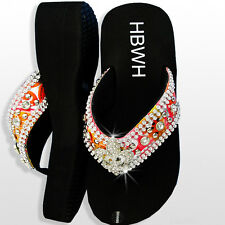 Be Trendy Western Rhinestone Jeweled Bling Wedge Flip-Flop Sandal w/Fleur-De-Lis