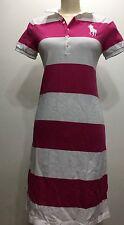 Ralph Lauren Women Short Sleeve Polo Dress Stripes Big Pony Sz Large