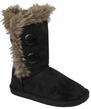 Women Wooden Button Soft Faux Fur Lined Shearling Mid Calf Winter snow boots