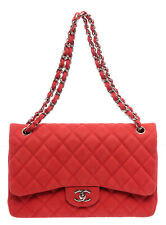 Chanel Coral Quilted Caviar Leather Classic Double Jumbo Flap Bag