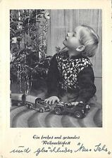 BG8305 boy child car toy fir branch  weihnachten christmas greetings germany