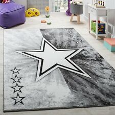 Grey Star Rug Girl Boy Bedroom Carpet Designer Baby Kids Children Room Play Mat
