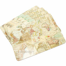 Set of 4 Globe Atlas Cork Placemats Dining Place Settings Table Mats World Map