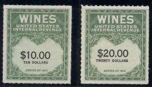 US #RE180-1 $10.00 & $20.00 green & black, unused no gum as issued, VF Scott $29