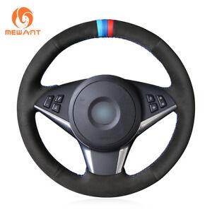 Black Soft Suede Car Steering Wheel Cover for BMW E60 530d 545i 550i E61 E63 E64