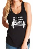Ladies Tank Top I Hate You T-Shirt Funny Workout Tee Shirt Gym Muscle Fitness