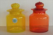 2 Vintage Counterpoint Handblown Canister Apothecary Jars Ground Glass Lid Japan