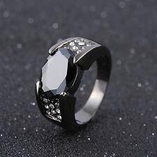 Size 11 Man's Black Sapphire Black 18K Gold Filled Fashion Engagement Ring Gift