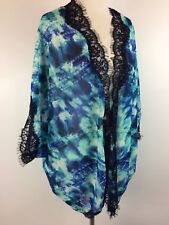 Kate & Mallory Sheer Woven Open Front Dolman Blouse BLUE Turquoise Lace Trim L