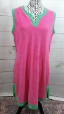Kim Rogers Womens Pink Green Terry Beach Swim Cover Up Dress Large Palm Tree
