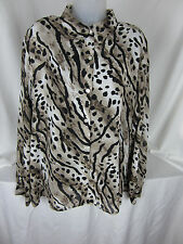 Alfred Dunner Blouse & Black  Cami  Black  Animal Print on Beige Polyester EPOC