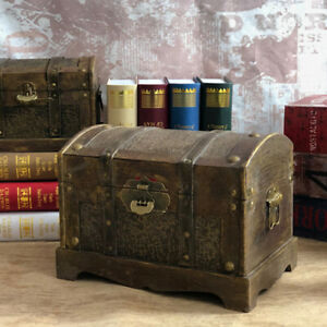 US Retro Wooden Pirate Treasure Chest Box Jewelry Trinket Keepsake Storage Case