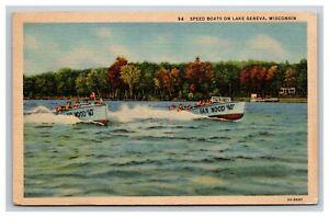 Vintage Postcard Wisconsin, Speed Boats on Lake Geneva WI