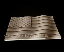 3D STL Model for CNC Router Engraver Carving Artcam Aspire USA Flag America AF12