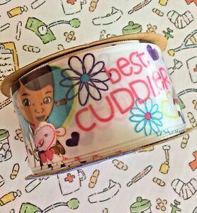"Disney Doc McStuffins Craft Ribbon Offray White Satin Best Cuddler 1-1/2""W 3 yds"