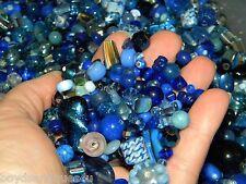 NEW Premium 4/oz DARK BLUES MIXED GLASS & Pearls LOOSE BEADS LOT No Junk!