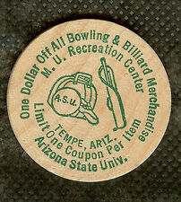 VINTAGE WOODEN NICKEL ASU ARIZONA STATE UNIVERSITY BOWLING & BILLIARD REC CENTER