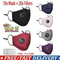 10X PM2.5 Air Pollution Face Mask Respirator With Filters Washable & Reusable