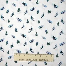 Ski Skiing Fabric - Small Winter Skier and Trees on White - Dear Stella YARD