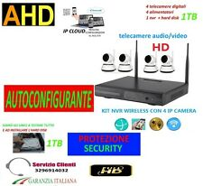 KIT VIDEOSORVEGLIANZA WIRELESS PTZ  WIFI HD IP 4 TELECAMERE NVR  AUDIO HD 1TB