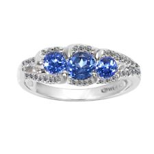 Natural Tanzanite Diamonds Solid 14k White Gold 3-Stones Ring Fine Jewelry