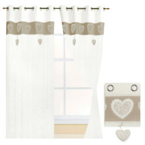 Curtains Window Port Internal Pair 2pz More Measures Fabric Linen Shabby Hearts
