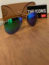 Ray-Ban Aviator Sunglasses RB3026 58mm 112/19 Green Mirrored Flash Lenses