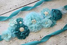 Flower Sash, aqua beach Sash #2 , flower Belt, maternity sash