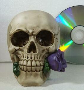 PURPLE ROSE FROM THE DEAD SKULL by Nemesis Now gothic gift