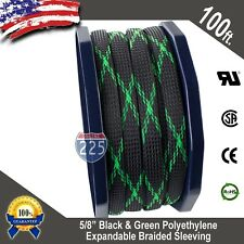 """100 FT. 5/8"""" Black Green Expandable Wire Sleeving Sheathing Braided Loom Tubing"""