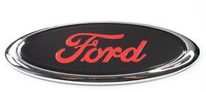"6"" Ford Oval Badge Emblem Black/Red Rear Logo Transit 150mm X 60mm"