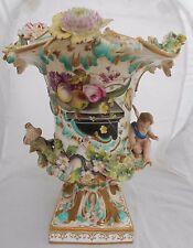 Antique Coalport Vase Coalbrookdale Flower Encrusted British Porcelain H29cm