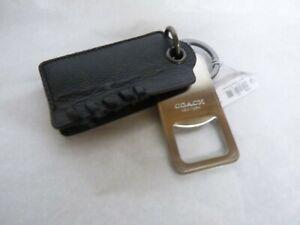 NWT COACH Baseball Stitch Bottle Opener Key Fob Key Chain F22544 BLACK