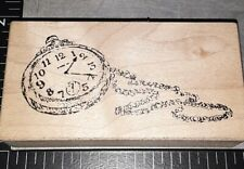 Pocket watchand chain,stampa rosa,E4,wooden, rubber stamp