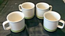 STONEWARE LOT OF 4 SMALL COFFEE  MUGS/CUPS NO SAUCERS WHITE w/ GREEN BAND JAPAN