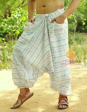 Men Cotton White Pockets Harem Yoga Pants Women Striped Drop Crotch Pants SC