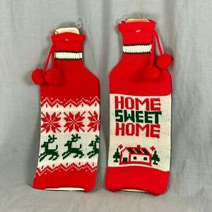 Home Sweet Home 2 Knit Christmas Liquor Bottle Sleeve Cover Reindeer Snowflake