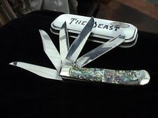 rare the beast knife abalone handle 5 sharp blade trapper with box and paper