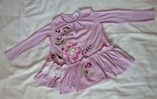 GIRLS MARKS AND SPENCER SPARKLY PINK DRESS TOP AGE 3-4 YEARS EMBROIDERED
