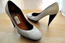 "Lanvin 2007 White Perforated Leather 4.5"" Wood Heel Platform Pumps Sz 38 / 7.5-8"