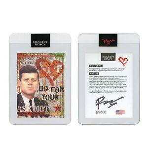 JOHN F KENNEDY President Rency Pop Art DIAMOND DUST Trading Card Signed S/N 300