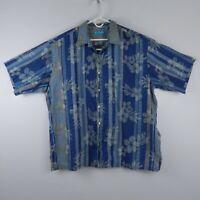 Tori Richard Blue Stripped Floral Pattern S/S Hawaiian Shirt Mens Sz XXL