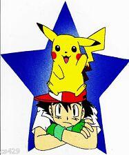 "10""  Pokemon pikachu & ash on head anime fabric applique iron on character"