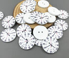 Wooden clock pattern buttons Sewing scrapbooking craft DIY Crafts 25mm