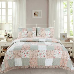 Mucci Floral Ruffle Real Patchwork 100%Cotton Quilt Set, Bedspread, Coverlet