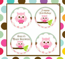 Owl baby shower birthday Edible cookie toppers cupcake tops party
