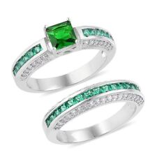 Wedding Set Engagement Band Rings 8 Green Glass Simulated Vs Diamond Silver Tone