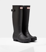 Hunter Boots Women's Original Tall Back Adjustable Rain Boots, Black, Size 5 US
