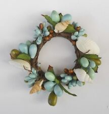 Great Finds Napkin Ring / Candle Ring   -    Cream Shells / Aqua / Green